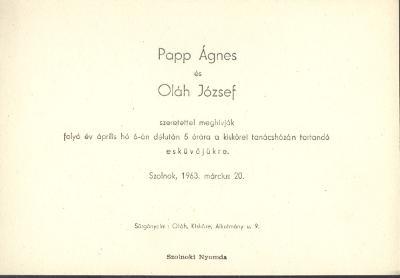 Papp Ágnes és Oláh József esküvői meghívója
