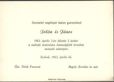 Török Jolán és Bagoly János esküvői meghívója