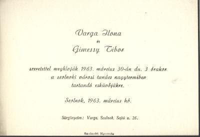 Varga Ilona és Gimessy Tibor esküvői meghívója