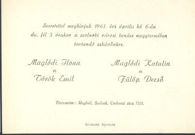 Maglódi Ilona és Török Emil, valamint Maglódi Katalin és Fülöp Dezső esküvői meghívója