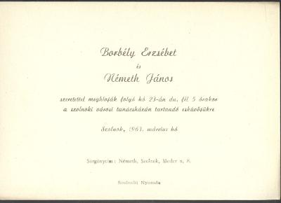Borbély Erzsébet és Németh János esküvői meghívója