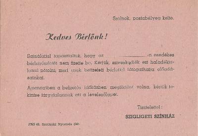 Szigligeti Színház tájékoztatója
