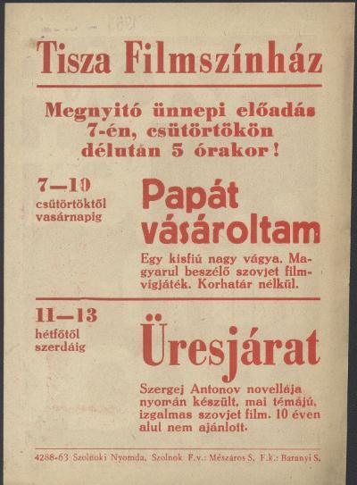 Tisza Filmszínház ünnepi megnyitó előadásának röplapja, hátoldalán a szovjet filmnapok (1963. november 7-13.)