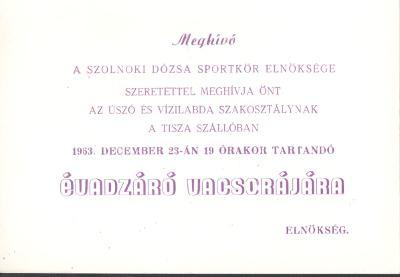 Meghívó a szolnoki Dózsa Sportkör évadzáró vacsorájára