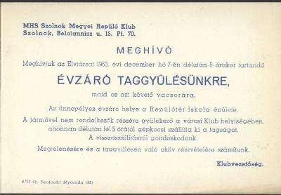 MHS Szolnok Megyei Repülő Klub évzáró taggyűlése