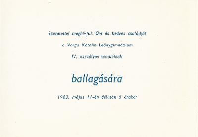 Varga Katalin Leánygimnázium ballagási meghívója