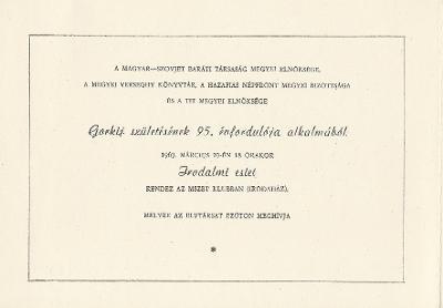 Irodalmi est Gorkij születésének 95. évfordulója alkalmából