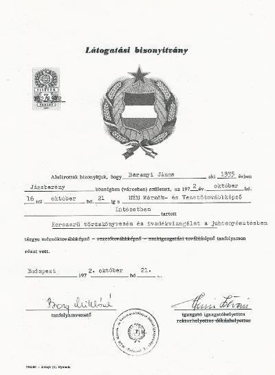Baranyi János bizonyítványa a MÉM Mérnök- és Vezetőtovábbképző Intézetben tartott Korszerű törzskönyvezés és ivadékvizsgálat a juhtenyésztésben tárgyú mérnöktovábbképzésről
