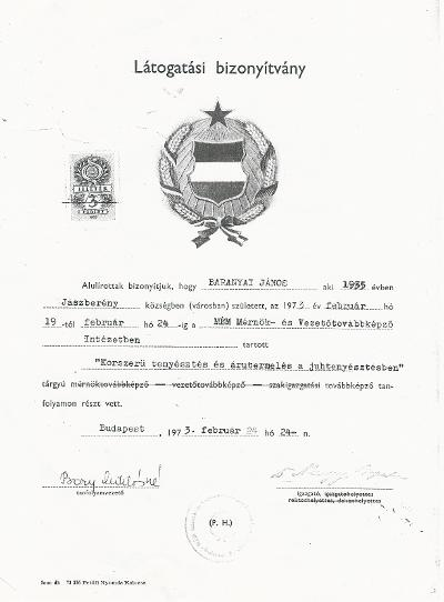 Baranyi János bizonyítványa a MÉM Mérnök- és Vezetőtovábbképző Intézetben tartott Korszerű tenyésztés és árutermelés a juhtenyésztésben tárgyú továbbképzésről