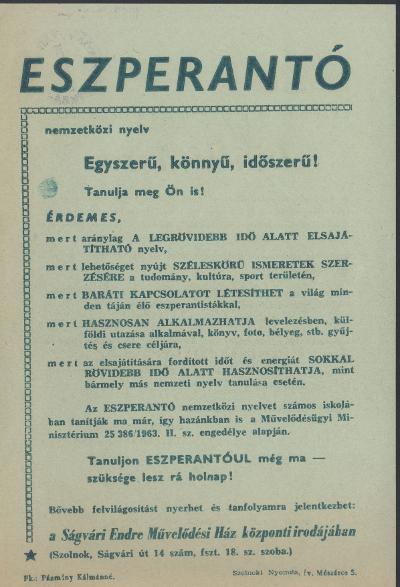 Eszperantó nyelvtanfolyam