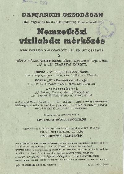 Nemzetközi vízilabda mérkőzés az NDK Dinamo és a Dózsa csapatai között.