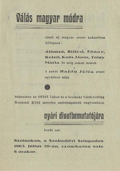 Válás magyar módra című zenés kabaré bemutatója