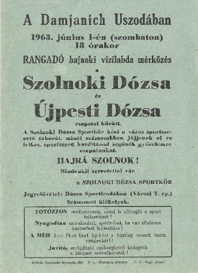 Szolnoki Dózsa - Újpesti Dózsa vízilabda mérkőzés