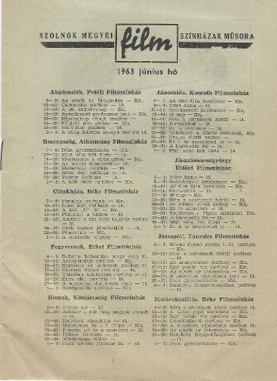 Szolnok megyei Filmszínházak 1963. június havi műsora