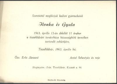 Ilonka és Gyula esküvői meghívója