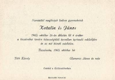 Tóth Katalin és Glumercz János esküvői meghívója