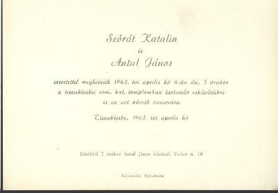 Szórát Katalin és Antal János esküvői meghívója