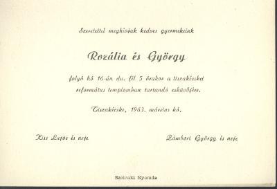 Kiss Rozália és Zámbori György esküvői meghívója