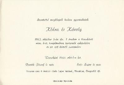 Bartók Klára és Soós Károly esküvői meghívója