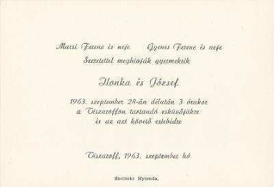 Ilonka és József esküvői meghívója