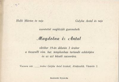 Holló Magdolna és Golyha Antal esküvői meghívója