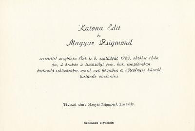 Katona Edit és Magyar Zsigmond esküvői meghívója