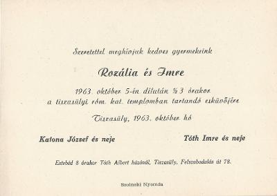 Katona Rozália és Tóth Imre esküvői meghívója