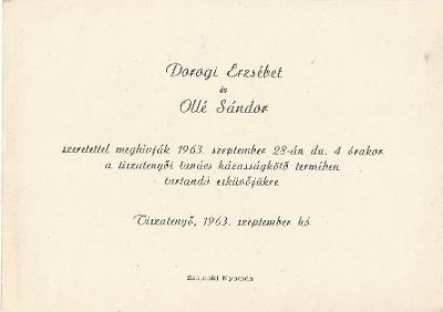 Dorogi Erzsébet és Ollé Sándor esküvői meghívója