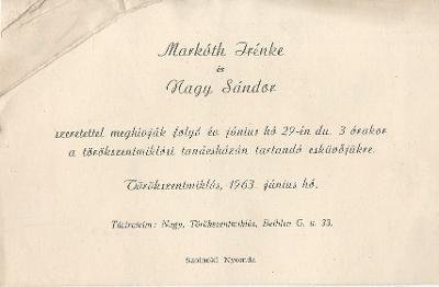 Markóth Irénke és nagy Sándor esküvői meghívója