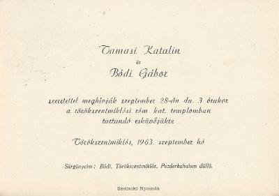 Tamasi Katalin és Bódi Gábor esküvői meghívója