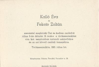 Kalló Éva és Fekete Zoltán esküvői meghívója