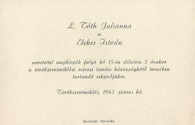 L. Tóth Julianna és Elekes István esküvői meghívója