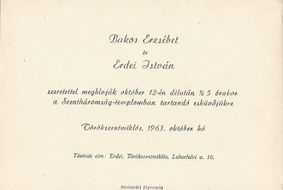 Bakos Erzsébet és Erdei István esküvői meghívója