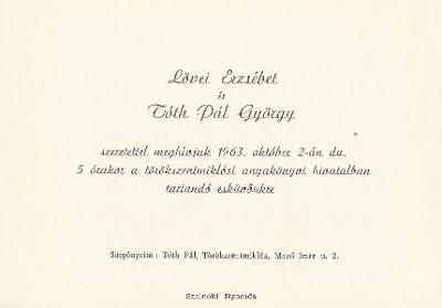 Lövei Erzsébet és Tóth Pál György esküvői meghívója