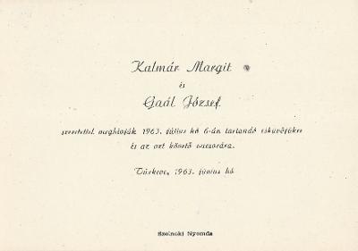 Kalmár Margit és Gaál József esküvői meghívója