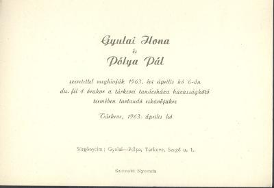 Gyulai Ilona és Pólya Pál esküvői meghívója