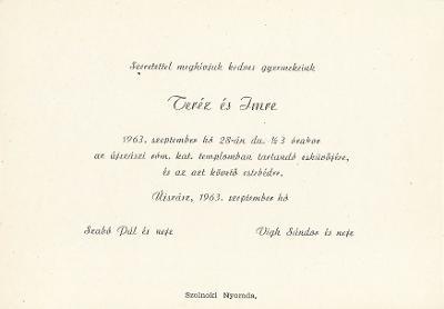 Szabó Teréz és Vígh Imre esküvői meghívója