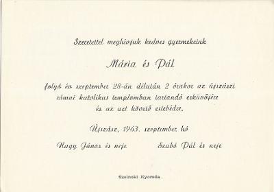 Nagy Mária és Szabó Pál esküvői meghívója