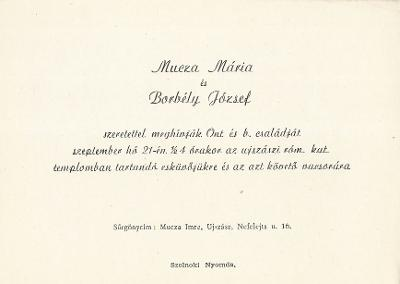 Mucza Mária és Borbély István esküvői meghívója