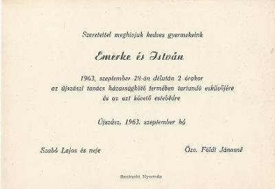 Szabó Emerke és Földi István esküvői meghívója