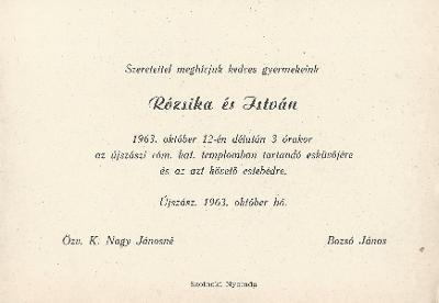 K. Nagy Rózsika és Bozsó István esküvői meghívója