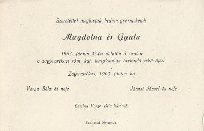 Varga Magdolna és Jánosi Gyula esküvői meghívója