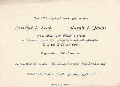 Erzsébet és Ernő, valamint Margit és János esküvői meghívója