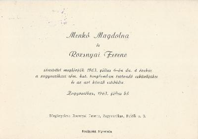 Menkó Magdolna és Rozsnyai Ferenc esküvői meghívója