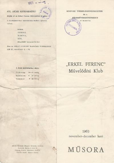 Erkel Ferenc Művelődési klub november-december havi műsora