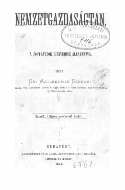 Matlekovits Sándor 1874