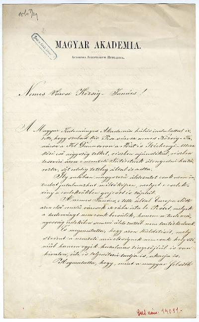 Toldy Ferenc levele a városi községtanácshoz az Akadémia telke ügyében, 1860