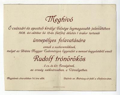Meghívó Rudolf trónörökös szobrának felavatására, 1908