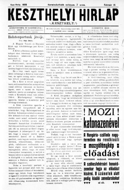 Keszthelyi Hírlap 1909.02.14.