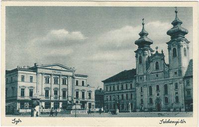 Bencés templom a gimnáziummal, Lloyd épülete és a Mária szobor